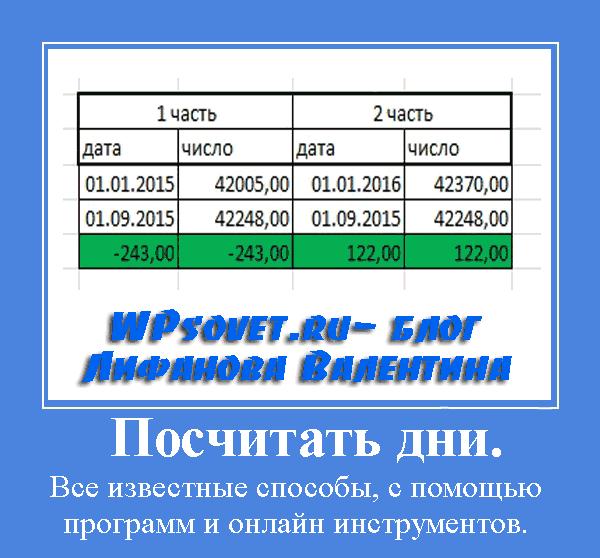 Программа расчета дней между датами