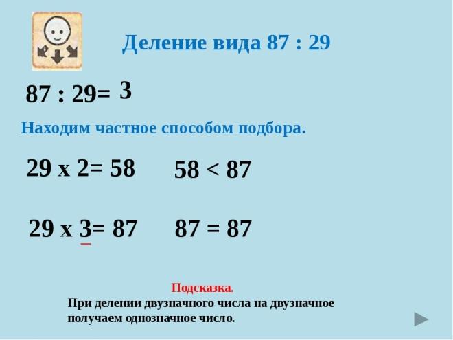 Алгоритм деления столбиком на двузначное число